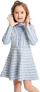 SMILING PINKER Girls Dresses Houndstooth Knitted Sweater Flare Winter Dress Mock Neck
