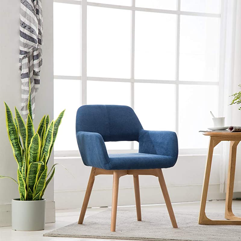 Lansen Furniture Set Of 1 Modern Living Dining Room Accent Arm Chairs Club Guest With Solid Wood Legs 1pcs Blue