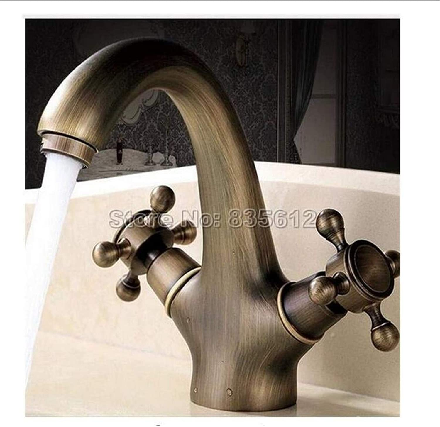 Vintage Brass Hot and Cold Water Faucet Dual Cross Handle Cold and Hot Water Mixer Taps Wash Basin
