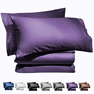 AiAngu Bed Sheet Set - Brushed Microfiber 1800 Bedding - 16-Inch Deep Pocket Wrinkle, Fade, Stain Resistant - Hypoallergenic - 3 Piece (Purple, Twin XL)