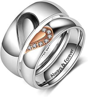 Personalized Mens and Womens Promise Rings Set for Couples Stainless Steel Engagement Wedding Rings Band Set for Her Valentines Day Jewelry