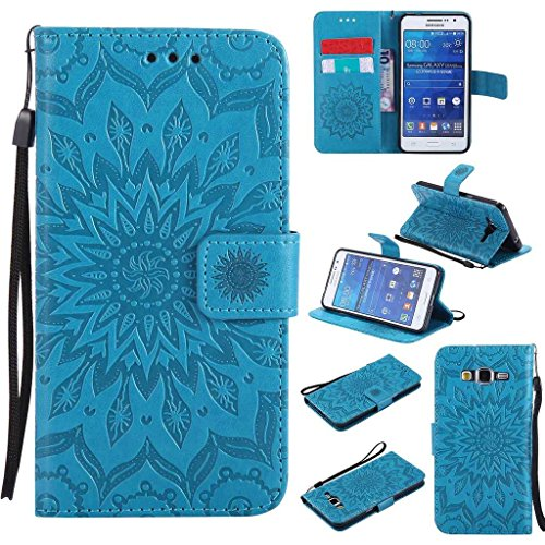 KKEIKO Hülle für Galaxy Grand Prime, PU Leder Brieftasche Schutzhülle Klapphülle, Sun Blumen Design Stoßfest HandyHülle für Samsung Galaxy Grand Prime - Blau