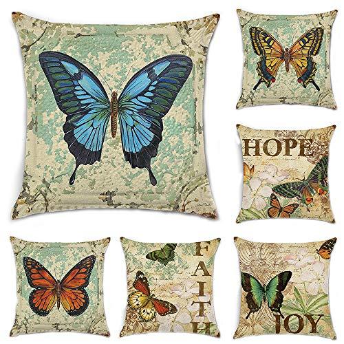 HuifengS Fundas de cojín cuadradas de Lino Decorativas, Mariposa, para sofás o Camas Juego de 6 Fundas de cojín de 45 x 45 cm