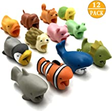 CKANDAY 12 Pcs Cute Animal Cable Bites Protector Saver Chompers Chewers Buddies Protection for Cellphone Phone Accessories Charger Cord USB Charging Cable