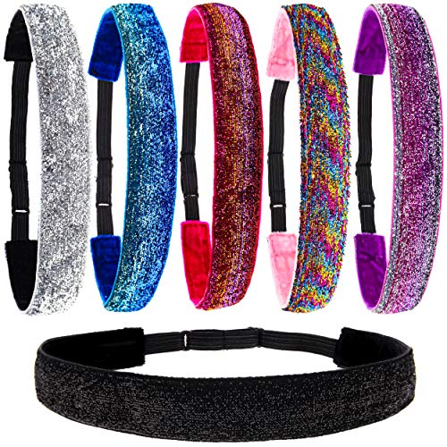 FROG SAC 6 Glitter Headbands for Girls, Adjustable Non Slip Head Bands for Kids, Cute No Slip Hair Accessories for Gymnastics, Sparkly Hair Band For Teen Girls, Stretch Elastic Headband for Women