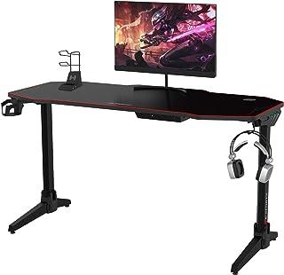 مكتب ألعاب كمبيوتر أو مكتب ألعاب الكمبيوتر 147.7 سم طاولة مكتب كبيرة الحجم، مكتب ألعاب فيديو للكمبيوتر، مصابيح LED متعددة ...