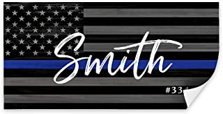 Pretty Perfect Studio Thin Blue Line Flag Wall Decor, Personalized Police Officer Gifts for The Home   Deputy Sheriff Law Enforcement Last Name Art   10