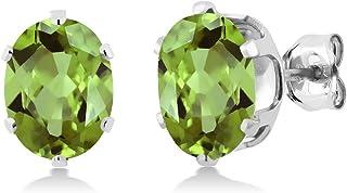 Gem Stone King 925 Sterling Silver Green Peridot Gemstone Birthstone Women`s Stud Earrings (2.60 Cttw, Oval 8X6MM)