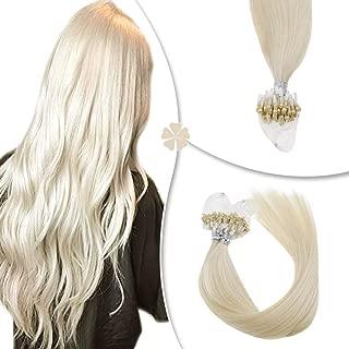 Hetto Micro Ring Beads Hair Extensions 12Inch Light Blonde Color #60 Micro Rings Loop Human Hair Extensions Silkly Straight Micro Ring Hair Extensions 40Gram