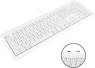 Macally Full Size USB Wired Computer Keyboard with Built-In 2-Port USB Hub - Perfect for your Mouse & 16 Apple Shortcut Keys for Mac OS, Apple iMac, Mac Mini, Macbook Pro/Air (XKEYHUB)
