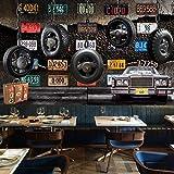 Papier Peint Intissé 150X100cm Ciment De Pneu De Plaque D'Immatriculation Rétro Décoration Murale XXL Poster Tableaux Muraux Tapisserie Photo Trompe l'oeil Moderne