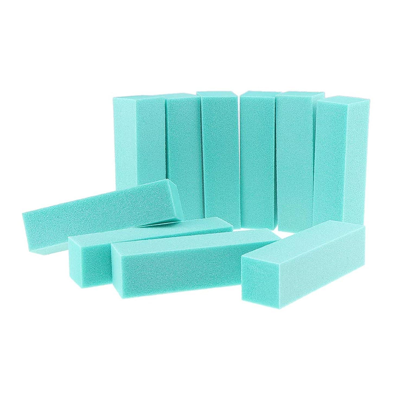 理論和らげる学部F Fityle 10個 ネイルファイル ネイルアート バッファーファイル ブロック マニキュア 研磨 6色選べ - 緑