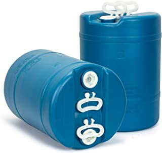 15 Gallon Emergency Water Storage Barrel - 2 Tanks - Preparedness Supply - Water Tank Drum Container - Portable, Reusable, BPA Free, Food Grade Plastic