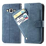 Galaxy G530/J2 Prime/Grand Prime Wallet Case,Leather Phone Case with Credit Card Holder Slot Kickstand Stand Flip Folio Protective Cover for Samsung Galaxy G532 Women Men Girls Blue