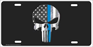 ATD The Punisher Thin Blue Line American Flag Background Personalized Novelty Front License Plate Decorative Vanity Car Tag