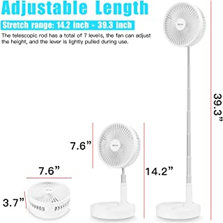AICase Stand Fan,Folding Portable Telescopic Floor//USB Desk Fan with Remote control,7200mAh 4 Speeds Super Quiet Adjustable Height and Head Great for Office Home Outdoor Camping