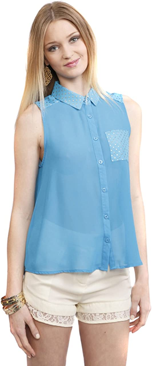UMGEE Women's Blue Sheer Gold Faux Studs Sleeveless Button Up Blouse Top Shirt