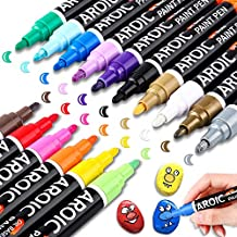 AROIC 16Pack Oil-Based Painting Marker Pen Set On Rock,Wood,Fabric,Metal,Plastic,Glass,Canvas,Mugs,Waterproof,DIY Craft and More