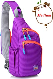Lecxci Outdoor Chest Backpack Lightweight Waterproof Nylon Sling Shoulder Bag for Running Hiking