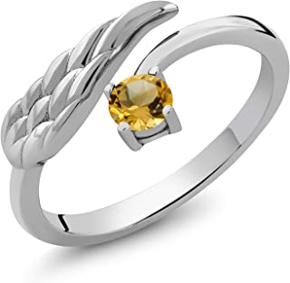 Gem Stone King Yellow Citrine 925 Sterling Silver Women's Wing Ring 0.26 Ct Round Gemstone Birthstone (Available 5,6,7,8,9)