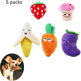 Interactive Squeaky Dog Toys Plush Puppy Dog Toys Pet Supplies Multi-Colors Fruits Vegetables, 3.5 to 6.9inch 5 Packs