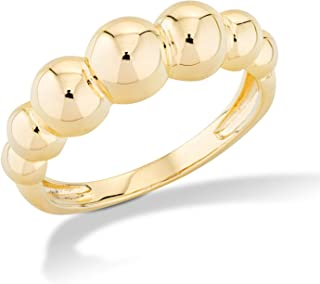 Miabella Italian 925 Sterling Silver Bead Ball Stackable Ring for Women, in Silver or 18K Gold Plated