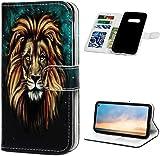 F�r Samsung Galaxy S10e H�lle Lader Tasche PU Lader H�lle Gemalt Muster Flip Brieftasche Kartenhalter Magnetschnalle St�nder Sto�fest Kratzfest Sto�stange Handyh�lle L�we