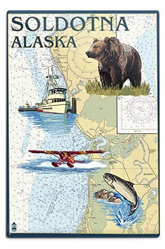 Lantern Press Soldotna, Alaska - Nautical Chart 42985 (6x9 Aluminum Wall Sign, Wall Decor Ready to Hang)