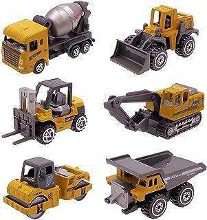 Dreamon Voiture Jouet en Métal ,Coffret 6 Véhicules de Construction Camion Cadeau pour Enfant de Petites Voitures Miniatures