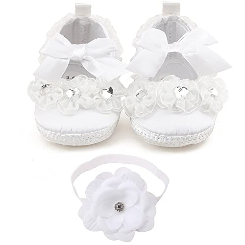 af39a58b108a DELEBAO Baby Girls Christening Baptism Shoes Wedding Party White Slipper