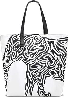 FANTAZIO Schultertasche für Damen, Schwarz/Weiß mit Elefanten
