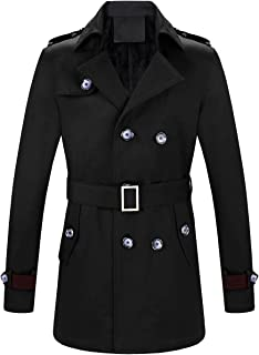 Men's Double-Breasted Belted Twill Trench Coat