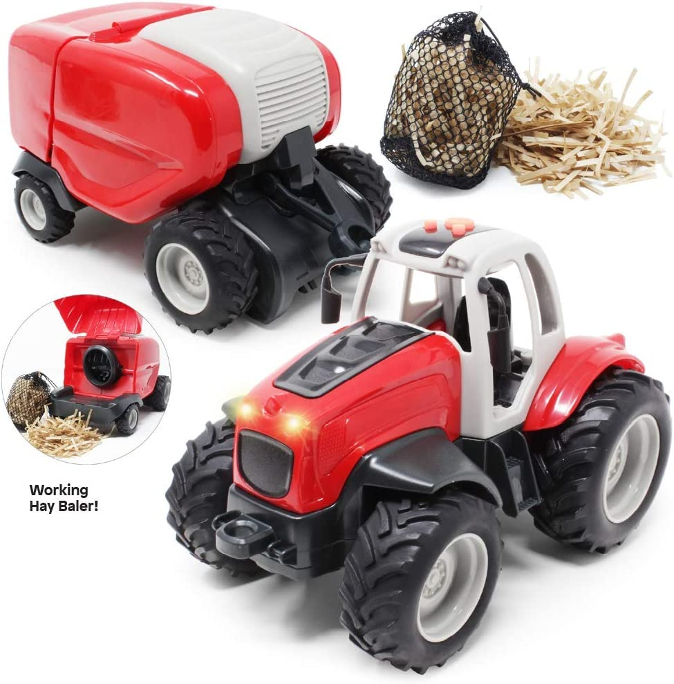 Hay Bales Included Boley Farm Tractor with Trailer Tractor Toys for Kids Light and Sound Farm Toy Truck Tractor Set
