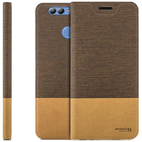 zanasta Tasche kompatibel mit Huawei Nova 2 Plus mit Kartenfach Hülle Flip Hülle Slim Schutzhülle Handytasche, Standfunktion | Hellbraun