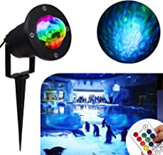 Water Wave Lights Laser Projector - KOOT Outdoor Waterproof LED Ripple Garden Lights RGBW 10 Colors Water Effect or Flame Fire Effect with Remote for Christmas Halloween Indoor Wedding Party Holiday
