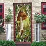Calcomanías de las puertas 3D Casa de setas (77X200Cm) Vinilo Impermeable Murales de Papel Decorativos Para el Hogar Baño Sala de estar Dormitorio Decoración