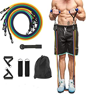 BULINGNA 11Pcs Resistance Bands Set, Elastic Pull Rope Stretch Fitness Home Gym, Tension Band for Weights Exercise, Shapin...