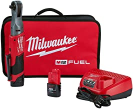 Milwaukee 2557-22 M12 FUEL 12-Volt Lithium-Ion Brushless Cordless 3/8 in. Ratchet Kit W/ (2) 2.0Ah Batteries, Charger and Tool Bag