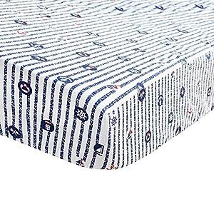 Brandream Nautical Crib Sheets Boy Toddler Sheets Anchor Printed 100% Hypoallergenic Cotton Navy Blue Crib Mattress Sheets Nursery Bedding