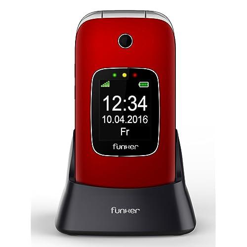 Funker C85 - Teléfono Móvil Easy Comfort Rojo con Tapa Para Personas Mayores con Botón SOS