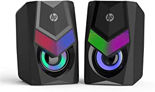 HP DHE-6000 WIRED SPEAKER RGB BACKLIGHT AUDIO PLAYER MULTIMEDIA STEREO MINI 360 SURROUND SOUND SUBWOOFER (BLACK)