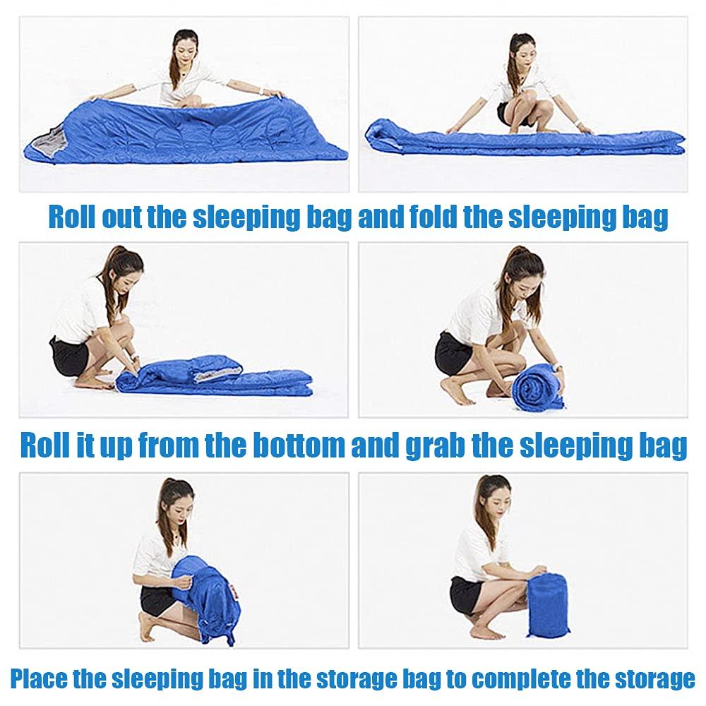 Beauenty 180CM bag length, cap is 30CM long Outdoor Camping Summer Camping Sleeping Bag Lunch 200g Envelope Hooded Sleeping Bag
