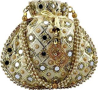 Zoya Gems & Jewellery Gold Potli Wristlets Ethnic Potli For Women's | Designer Rajasthani Style Royal Clutch Silk Batwa | ...