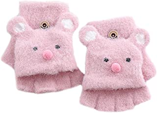 Vimoisa Winter Knit Mitten Cute Stretchy Glove Convertible Flip Top Fingerless Gloves for Toddler Kids