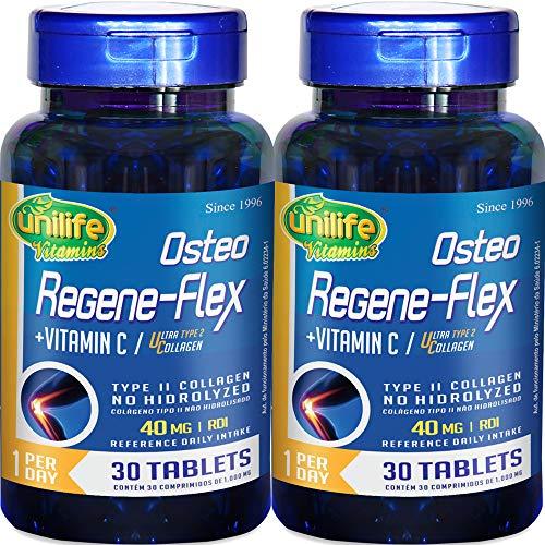 Kit com 2 Frascos de Colágeno Tipo 2 (UC2) Osteo Regeneflex 30 Comprimidos Unilife