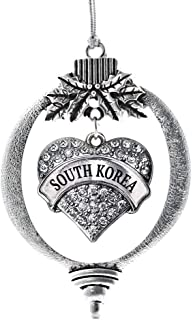 Inspired Silver - South Korea Charm Ornament - Silver Pave Heart Charm Holiday Ornaments with Cubic Zirconia Jewelry