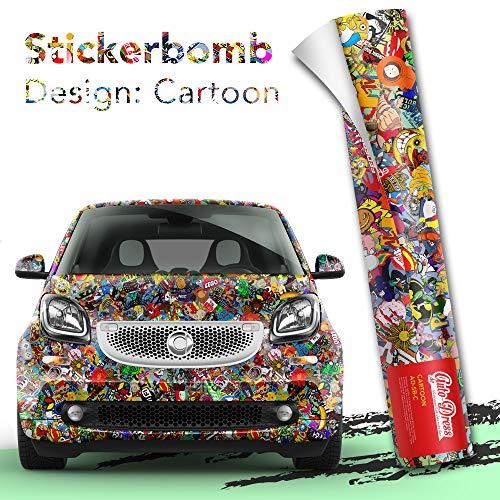 Stickerbomb Folie - Alle Designs - alle Größen! Ob Glänzend oder matt, bunt oder schwarz/weiß! Für blasenfreies 3D Car Wrapping Sticker Bomb Logo Aufklebern- JDM (30x150cm, Cartoon bunt glänzend)