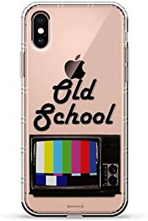 OLD SCHOOL TV | Luxendary Air Series Clear Silicone Case with 3D printed design and Air-Pocket Cushion Bumper for iPhone Xs Max (new 2018/2019 model with 6.5