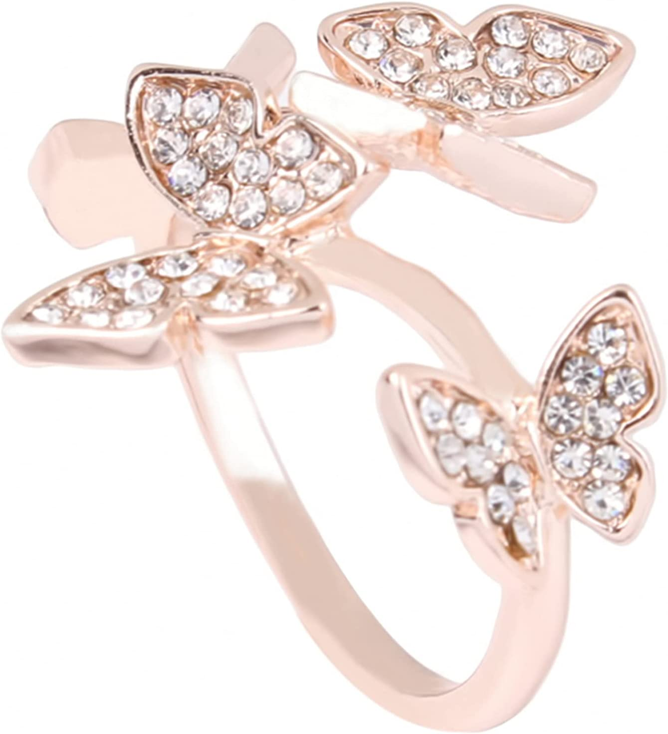 LILIYUAN Cute Crystal Butterfly Rings Adjustable Butterfly Toe Ring Open Ring for Women Girls