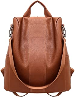 Shoulder Bag for Women, Solid Color Anti-theft Rucksack Faux Leather Tote Shoulder Bag Backpack Black/Brown Durable, Back Zip Closure, Anti-theft, with Detachable Strap